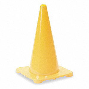 "Traffic Cone, 18"" Cone Height, Yellow, Polyethylene"