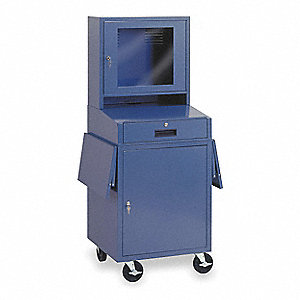"24-1/2"" x 22-1/2"" x 62-3/4"" Steel Mobile Computer Cabinet, Blue"