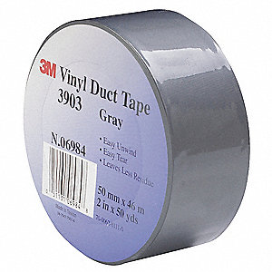 "Light-Duty Duct Tape, 2"" X 50 yd., 6.30 mil Thick, Gray Vinyl, 1 EA"