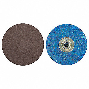 "3"" Quick Change Disc, Aluminum Oxide, Turn-On/Off, 36 Grit, Extra Coarse, Coated, R228, PK50"