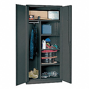 "Storage Cabinet, Charcoal, 78"" Overall Height, Assembled"
