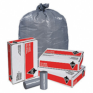 33 gal. LLDPE Extra Heavy Trash Bags, Coreless Roll, Gray, 250PK