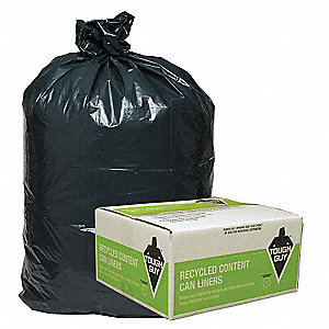 40 to 45 gal. Black Recycled Can Liner, Flat Pack, 100 PK