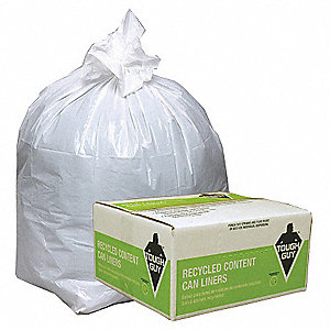 13 gal. White Recycled Can Liner, Flat Pack, 150 PK