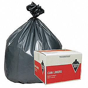31 to 33 gal. LDPE Trash Can Liner, Flat Pack, Silver/Black, 50PK