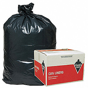 42 gal. LDPE Trash Can Liner, Coreless Roll, Black, 50PK