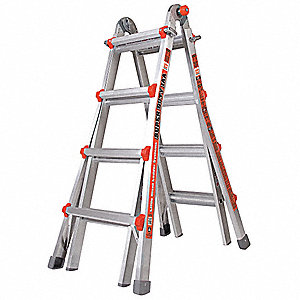 Aluminum Multipurpose Ladder, 9 to 15 ft. Extended Ladder Height, 375 lb. Load Capacity