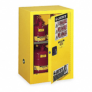 "23-1/4"" x 18"" x 35"" Galvanized Steel Flammable Liquid Safety Cabinet with Self-Closing Doors, Yellow"