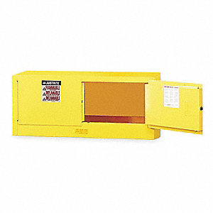 "43"" x 18"" x 18"" Galvanized Steel Flammable Liquid Safety Cabinet with Manual Doors, Yellow"