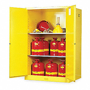 "43"" x 34"" x 65"" Galvanized Steel Flammable Liquid Safety Cabinet with Manual Doors, Yellow"
