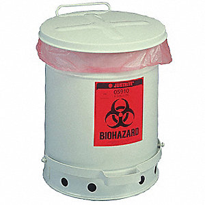Biohazard Waste Can,18-1/4 In. H