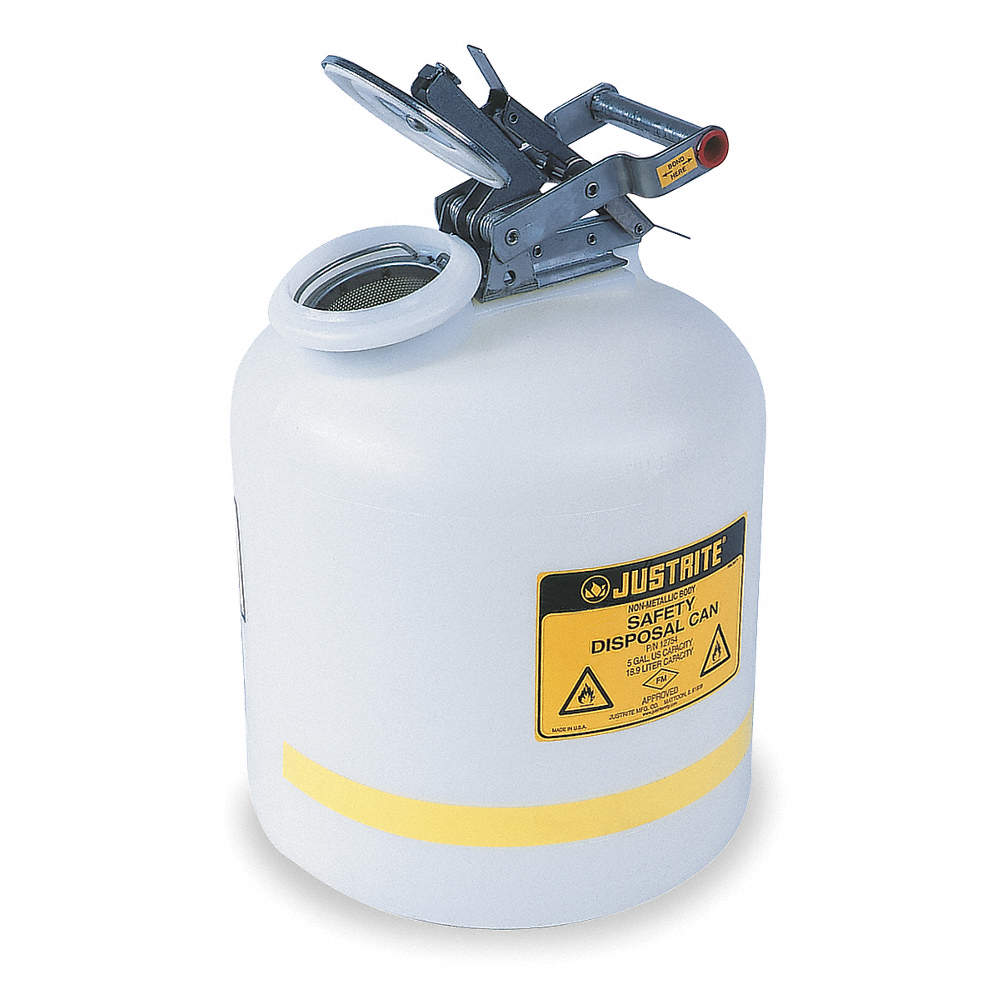 Safety Disposal Can, 5 gal , Corrosives, Flammables, Polyethylene, White