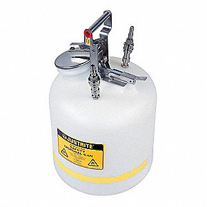 HPLC Waste Can, 5 gal. Capacity, PTFE Seal Material, (2) Stainless Steel Fittings
