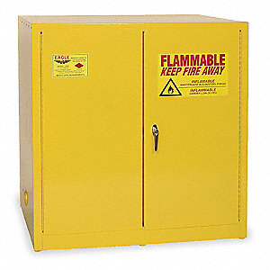 "43"" x 34"" x 44"" Galvanized Steel Flammable Liquid Safety Cabinet with Manual Doors, Yellow"