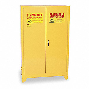 "43"" x 18"" x 69"" Galvanized Steel Flammable Liquid Safety Cabinet with Self-Closing Doors, Yellow"