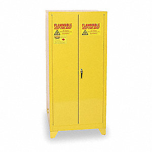 "31-1/4"" x 31-1/4"" x 69"" Galvanized Steel Flammable Liquid Safety Cabinet with Self-Closing Doors, Ye"