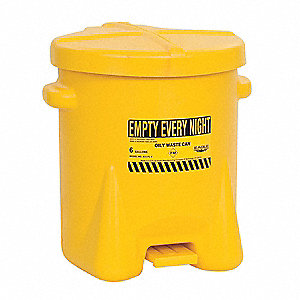 Yellow Polyethylene Oily Waste Can, 6 gal. Capacity, Foot Operated Self Closing Lid Type