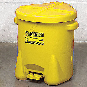 Yellow Polyethylene Oily Waste Can, 14 gal. Capacity, Foot Operated Self Closing Lid Type