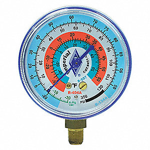 Gauge, 2-1/2 In Dia, Low Side, Blue, 350 psi