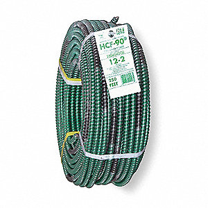 250 ft. Solid Metal Clad Armored Cable; Conductors: 2 with Ground, 12 AWG Wire Size, Green