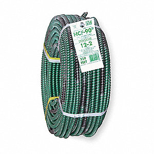 Armored Cable, Number of Conductors: 2 with Ground, 12 AWG Wire Size, 250 ft. Spool Length