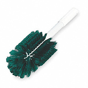"16""L Polyester Short Handle Bottle Brush, White"