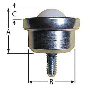 "1-43/64"" x 1-43/64"" x 1-1/4"" Zinc Plated Steel Threaded with 100 Lb. Working Load Limit"
