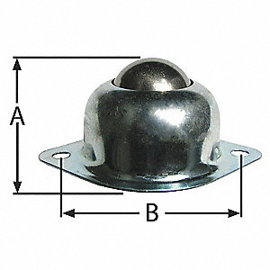"2-3/4"" x 2"" x 1-3/16"" Zinc Plated Steel Flange with 75 Lb. Working Load Limit"