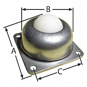"3"" x 3"" x 1-13/16"" Zinc Plated Steel Flange with 125 Lb. Working Load Limit"