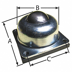 Ball Transfer,Flange,1-1/2In Ball Dia