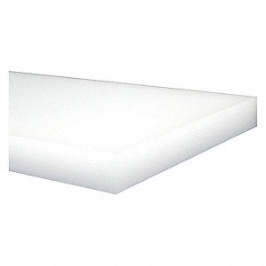 "Sheet Stock, HDPE, 12""L x 12""W x  0.375"" Thick, 176 Max. Temp. (F), Off-White"