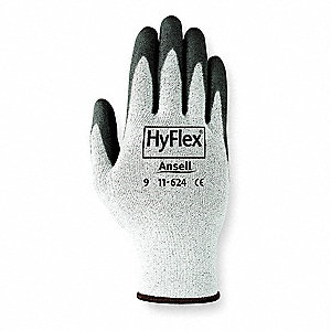 Polyurethane Cut Resistant Gloves, ANSI/ISEA Cut Level 2, Dyneema® HPPE Lining, Black, Gray, 12, PR