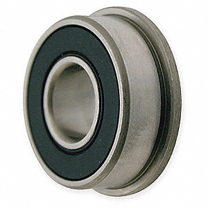 "Flanged Radial Ball Bearing, Double Sealed, Flanged Bearing Type, 0.1875"" Bore Dia., 0.5000"" Outside"