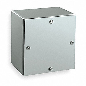 "6""H x 6""W x 4""D Metallic Enclosure, Gray, Knockouts: No, Screws Closure Method"