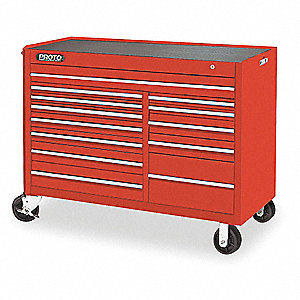 "Red Rolling Cabinet, Series 450, Heavy Duty, Width: 57"", Depth: 25"", Height: 43"""