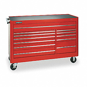 "Red Rolling Cabinet, Series 450, Heavy Duty, Width: 66"", Depth: 27"", Height: 46"""