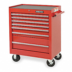 "Red Rolling Cabinet, Series 440, Standard Duty, Width: 27"", Depth: 18"", Height: 35"""