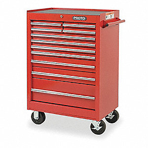 "Red Standard Duty Rolling Cabinet, 42"" H X 27"" W X 18"" D, Number of Drawers: 11"