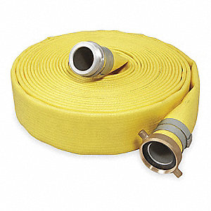 "50 ft. Yellow Water Discharge Hose, 4"" Fitting Size, 250 psi"