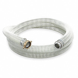 "20 ft. Clear and White Water Suction and Discharge Hose, 1-1/2"" Fitting Size, 50 psi"