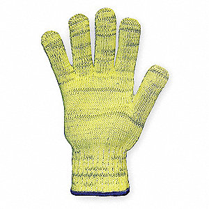 Uncoated Cut Resistant Gloves, ANSI/ISEA Cut Level 4, Dyneema® Lining, Gray/Yellow, L, PR 1