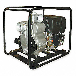 7.6 HP Aluminum 347cc Diesel Engine Driven Trash Pump, 5.3 qt. Tank Capacity