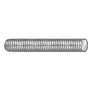 Threaded Stud,304 SS,1/4-28x2,PK5
