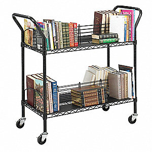 Steel Wire Book Cart Shelves, Black