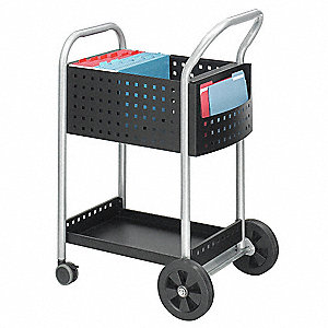 "27""L x 22""W x 40-1/2""H Black Mail Cart, 300 lb. Load Capacity"