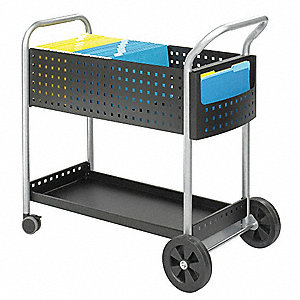 "39-1/2""L x 22-1/2""W x 40-3/4""H Black Mail Cart, 300 lb. Load Capacity"