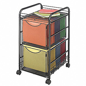 "15-3/4"" x 17"" x 27"" Double File Cart w/Drawers, Black"