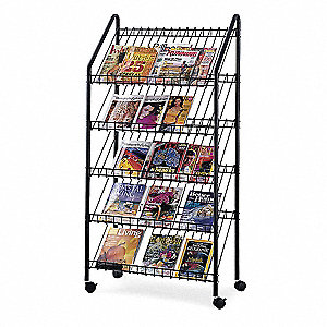 Mobile Literature Rack,Charcoall