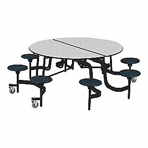 "8-Seat Round Mobile Stool Table, Gray Glace, 29"" Height, Dia: 60"""