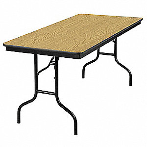 "Folding Banquet Table,60""Wx30""D,Oak"